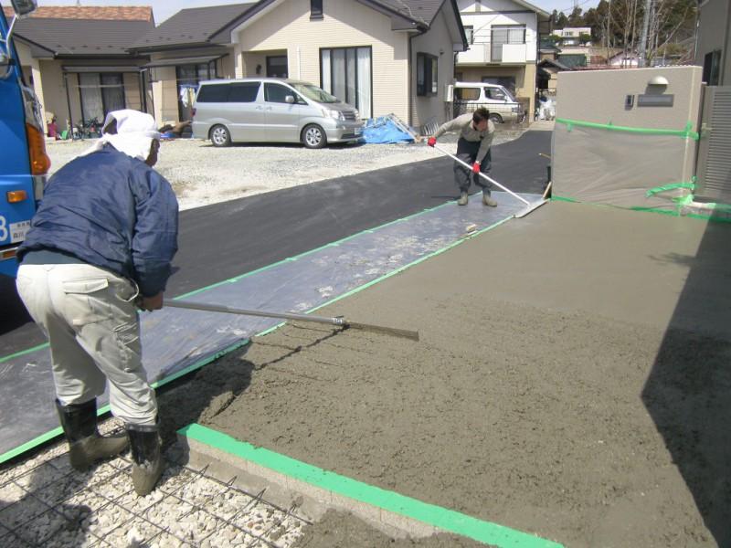 駐車場の土間コンクリートの打設_2|竜門園