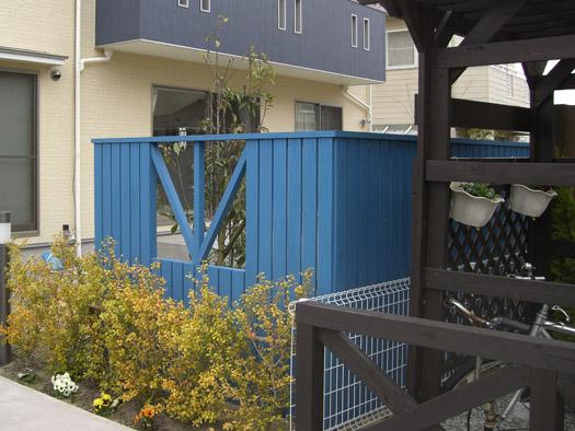 仙台市泉区 K様邸 青い目隠しフェンス|竜門園
