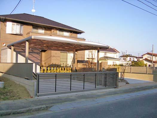 石巻市 T様邸 駐車場と門柱|竜門園