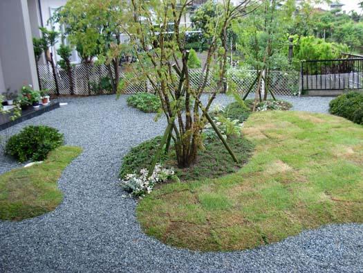 仙台市 I 様邸 芝生の築山と砂利敷きの庭_6|竜門園