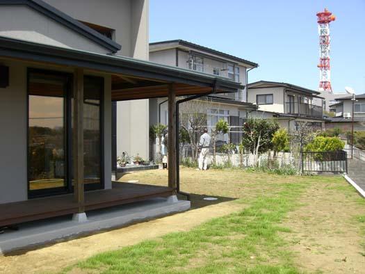 仙台市 I 様邸 芝生の築山と砂利敷きの庭_1|竜門園