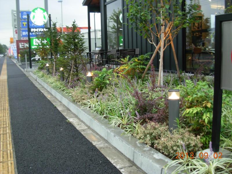 仙台市太白区 コーヒーショップ植栽工事_1|竜門園