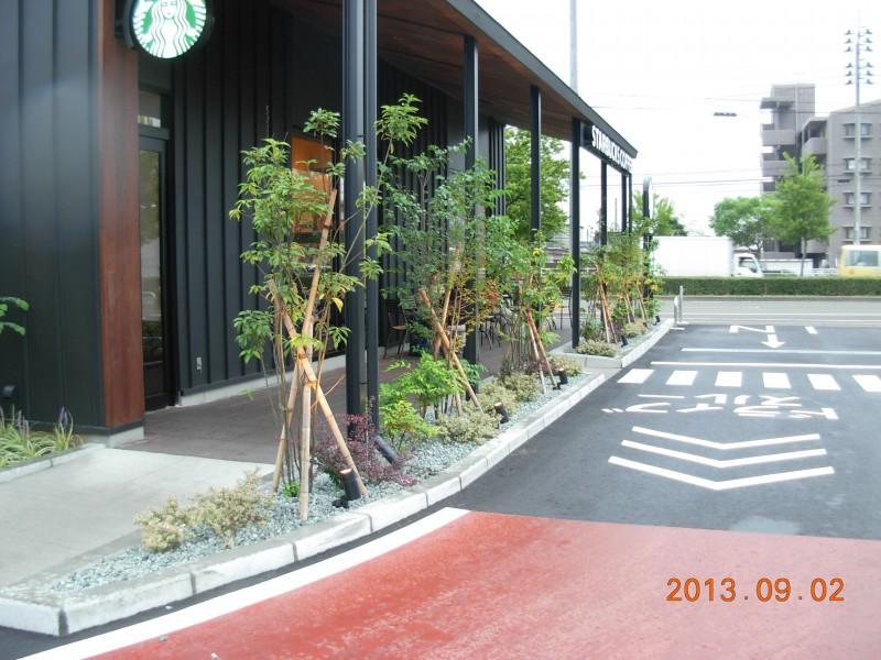 仙台市太白区 コーヒーショップ植栽工事|竜門園